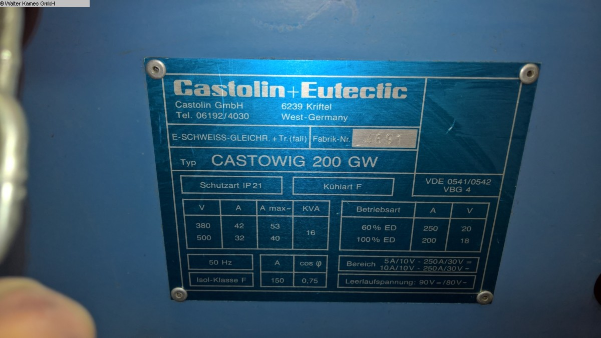 Photo 1  CASTOLIN + EUTECTIC CASTOWIG 200 GW