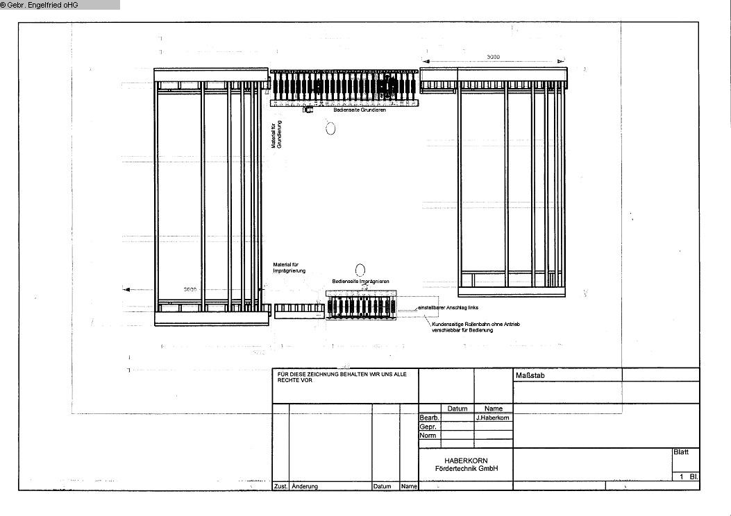 production de fenêtres: bois Système de transport HABERKORN Foerderanlage nach Fluttunnel