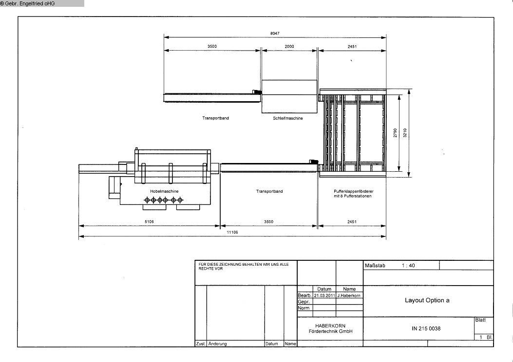 gebrauchte Fensterfertigung: Holz Transportanlage HABERKORN Rueckfoerderer mit GLS Abwurf
